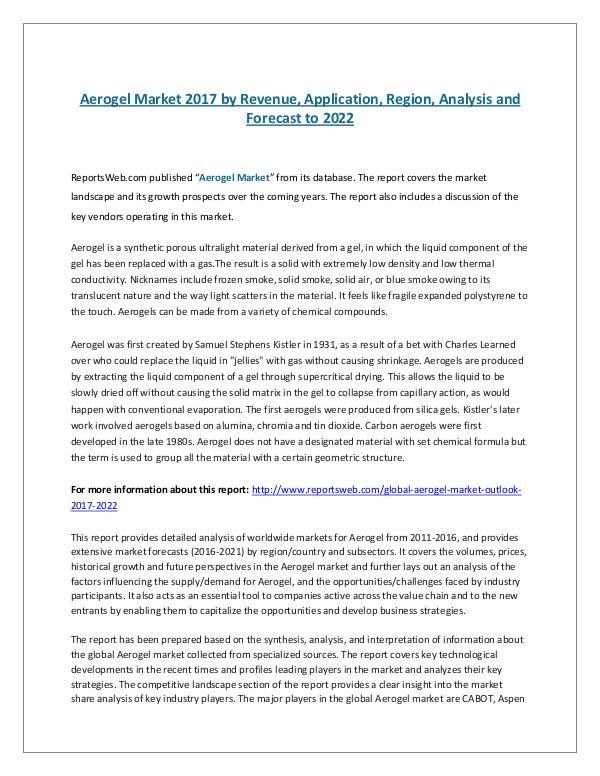 Aerogel Market 2017 by Revenue, Application, Regio