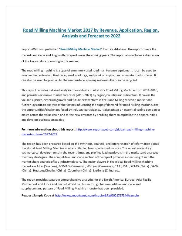 Road Milling Machine Market 2017 by Revenue, Appli