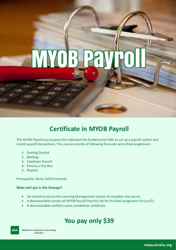 Certificate in MYOB Payroll PAYROLL1-infosheet