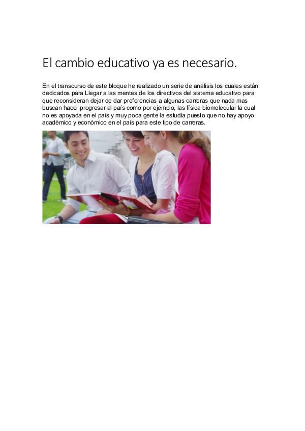 Proyecto El cambio educativo ya es necesario