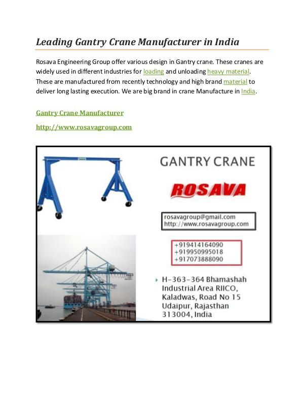 Gantry Crane Manufacturer Leading Gantry Crane Manufacturer in India
