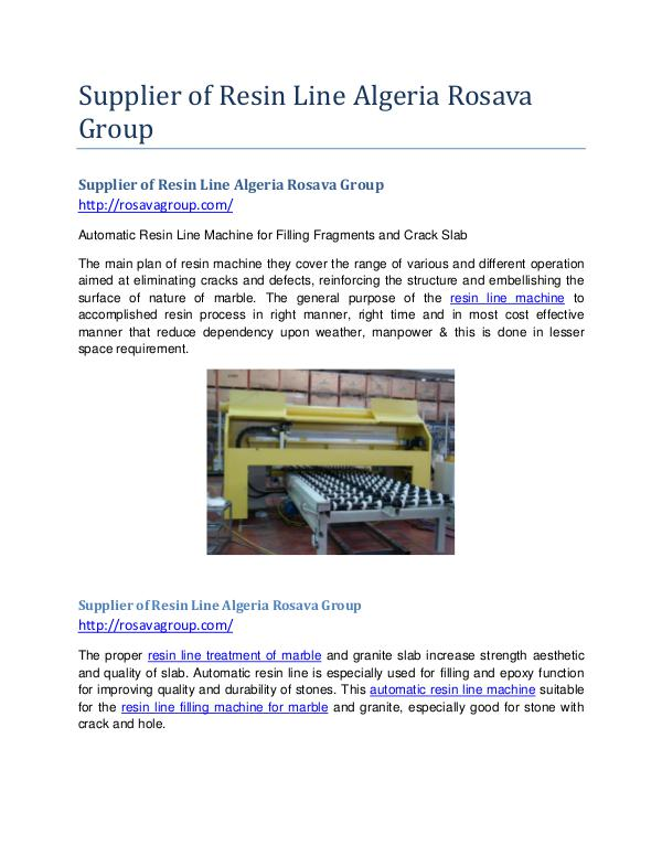 Supplier of Resin Line Algeria Rosava Group Supplier of Resin Line Rosava Group