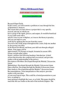 MBAA 520 RESEARCH PAPER / TUTORIALOUTLET DOT COM