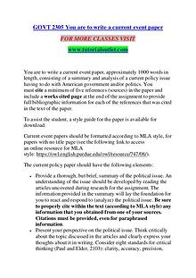 GOVT 2305 YOU ARE TO WRITE A CURRENT EVENT PAPER / TUTORIALOUTLET DOT