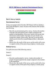 BUSN 300 SURVEY ANALYSIS ENTERTAINMENT SURVEY / TUTORIALOUTLET DOT CO