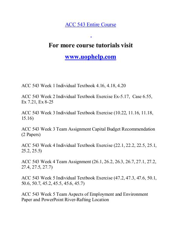 ACC 543 help A Guide to career/uophelp.com ACC 543 help A Guide to career/uophelp.com