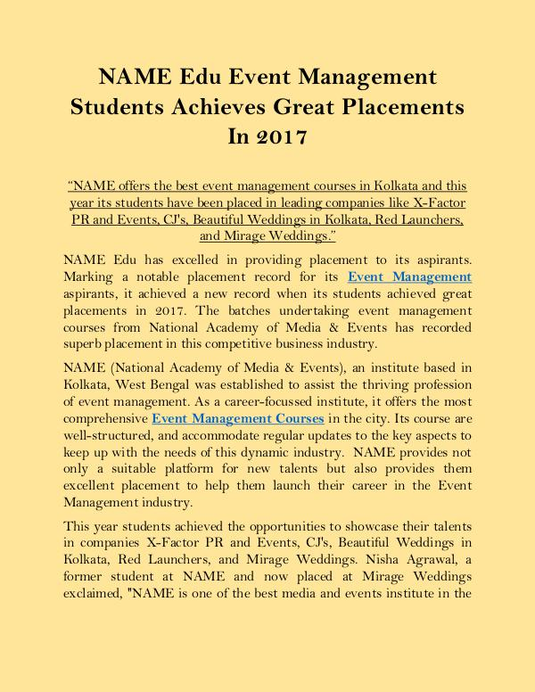 NAME Edu Event Management Students Achieves Great Placements In 2017 NAME_Edu_Event_Management_Students