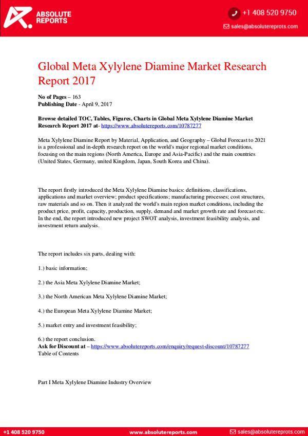 28-07-2017 Meta-Xylylene-Diamine-Market-Research-Report-2017