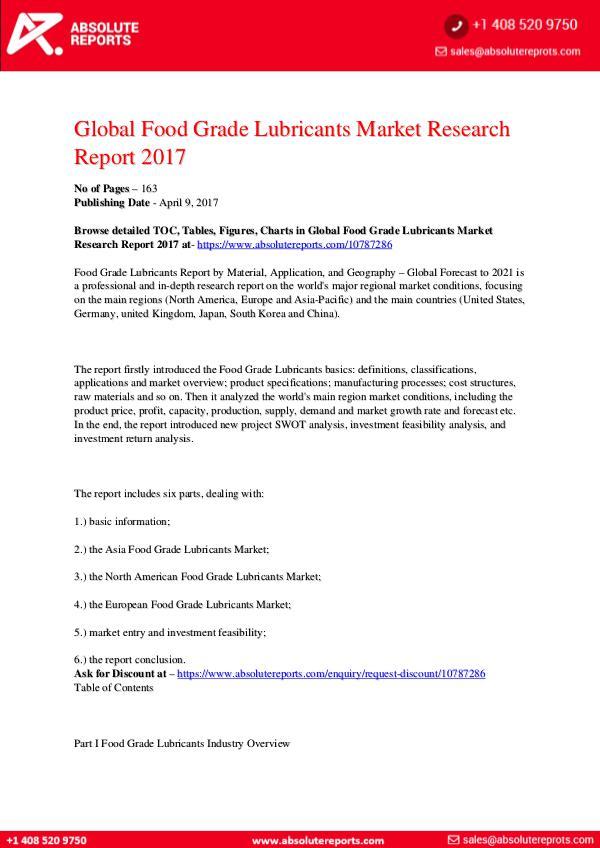 28-07-2017 Food-Grade-Lubricants-Market-Research-Report-2017