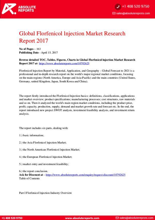 28-07-2017 Florfenicol-lnjection-Market-Research-Report-2017