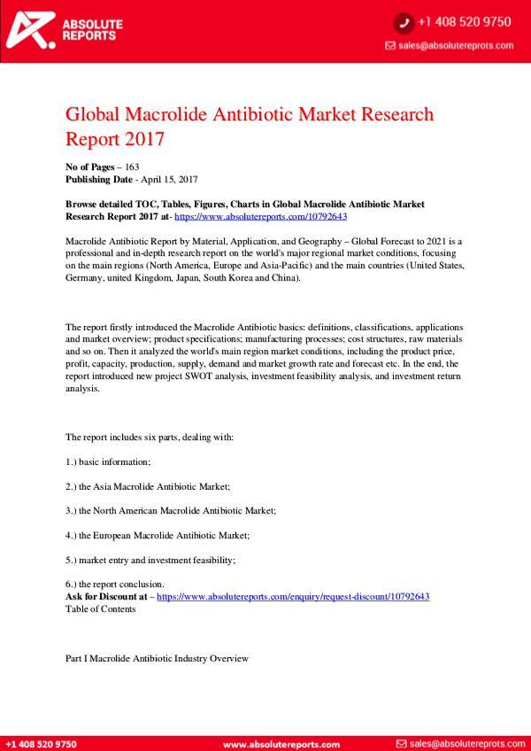 28-07-2017 Macrolide-Antibiotic-Market-Research-Report-2017