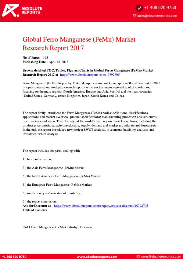 28-07-2017 Ferro-Manganese-FeMn-Market-Research-Report-2017