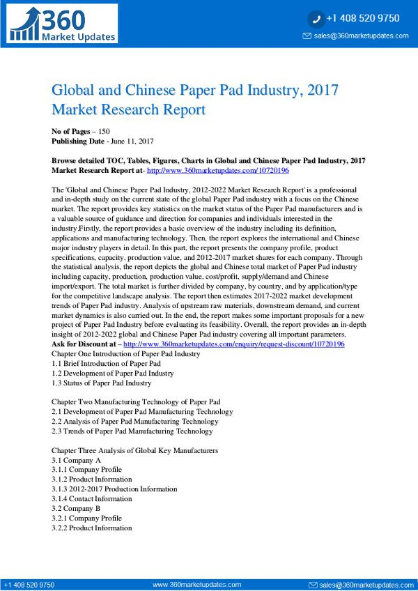 22-06-2017 Paper-Pad-Industry-2017-Market-Research-Report