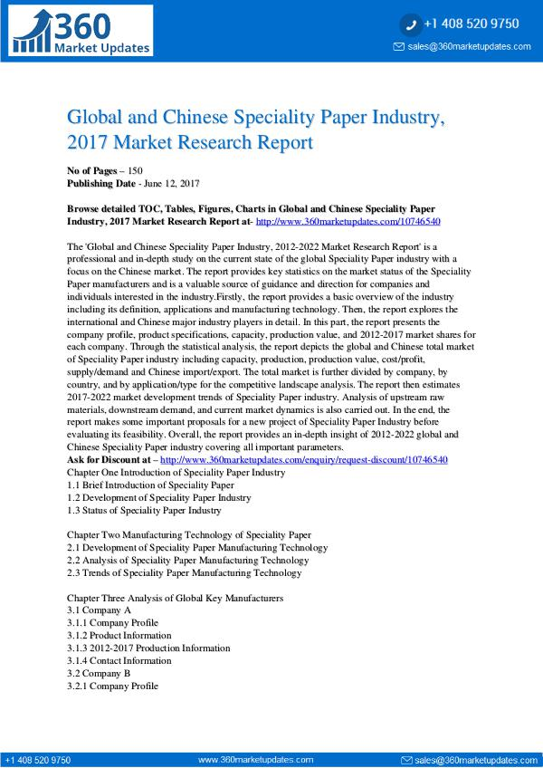23-06-2017 Speciality-Paper-Industry-2017-Market-Research-Rep