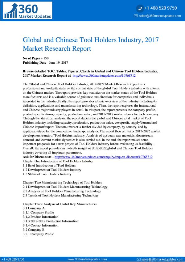 23-06-2017 Tool-Holders-Industry-2017-Market-Research-Report