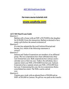 ACC 565 help A Guide to career/uophelp.com