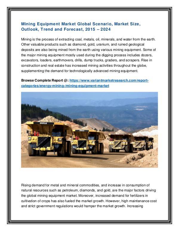 Commercial Roofing Materials Market Global Scenario Mining Equipment Market