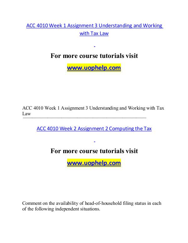 ACC 4010 help A Guide to career/uophelp.com ACC 4010 help A Guide to career/uophelp.com