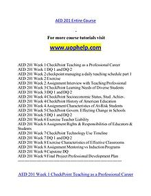 AED 201 help A Guide to career/uophelp.com