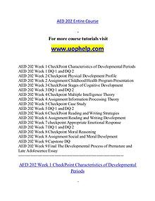 AED 202 help A Guide to career/uophelp.com