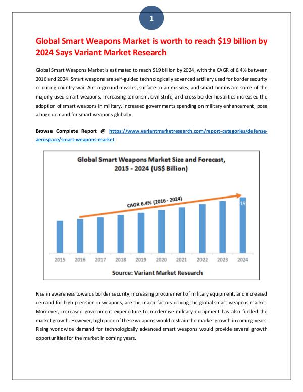 Global Smart Weapons Market is estimated to reach $19 billion by 2024 Global Smart Weapons Market is worth to reach