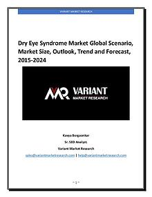 Dry Eye Syndrome Market Global Scenario, Market Size, Outlook, Trend