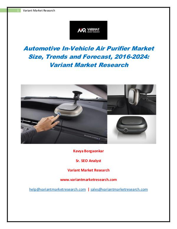 Global Automotive In-Vehicle Air Purifier Market Automotive In-Vehicle Air Purifier Market
