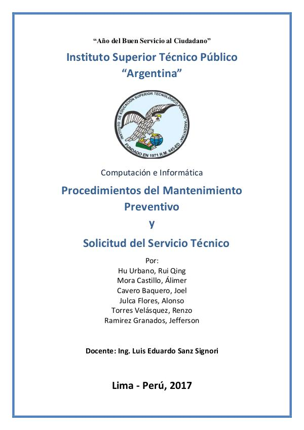 Procedimientos del Mantenimiento Preventivo y Solicitud del Servicio Monografia soporte tecnico