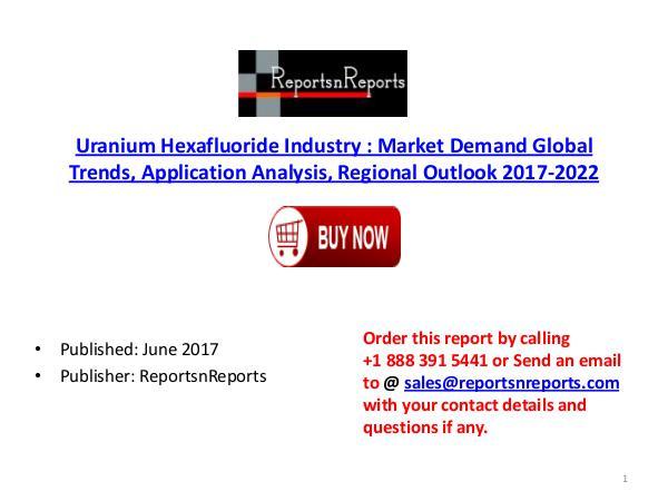 Global Uranium Hexafluoride Industry 2017-2022 Growth, Trends and Siz Uranium Hexafluoride PDF DOC 3.( 19 JUNE)