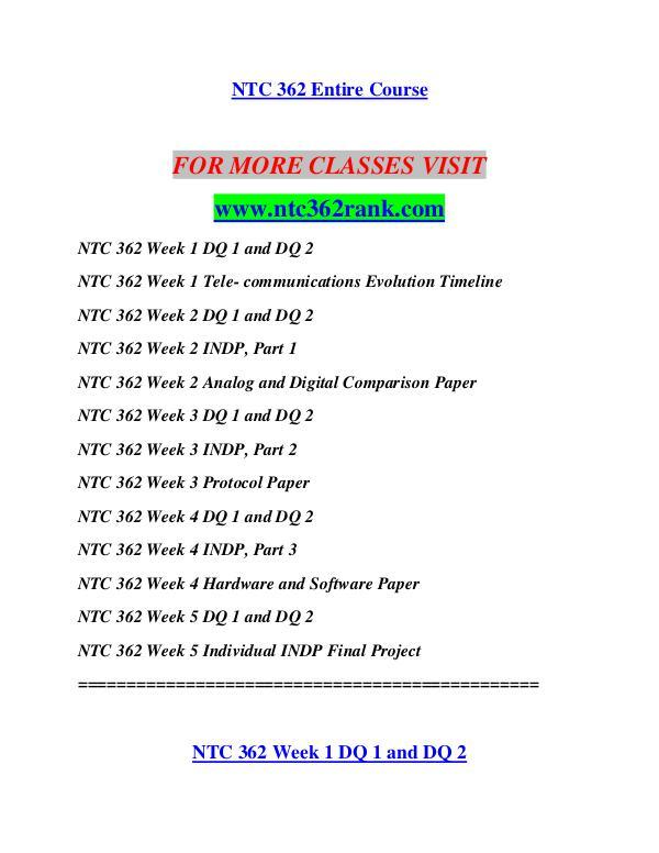 ntc 362 indp week 1 Ntc 362 week 2 indp, part 1 ntc 362 week 2 analog and digital comparison paper ntc 362 week 3 dqs ntc 362 week 3 indp, part 2 ntc 362 week 3 protocol paper.