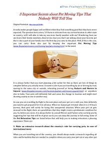 3 Important Secrets about Pet Moving Tips That Nobody Will Tell You