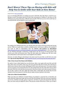 Don't Worry! These Tips on Moving with Kids will Help You to Settle w
