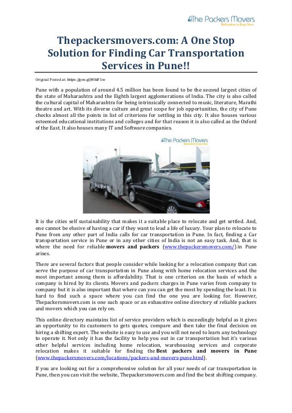 Thepackersmovers.com: A One Stop Solution for Finding Car Transportat Thepackersmovers.com A One Stop Solution for Findi