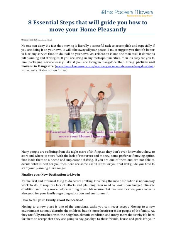 8 Essential Steps that will guide youhow to move your Home Pleasantly 8 Essential Steps that will guide you how to move