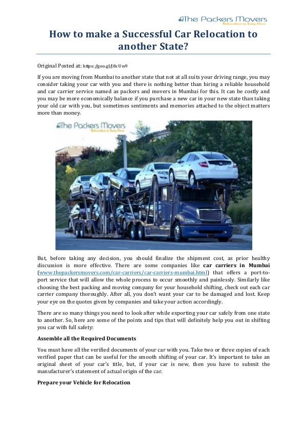 My first Magazine How to make a Successful Car Relocation to another