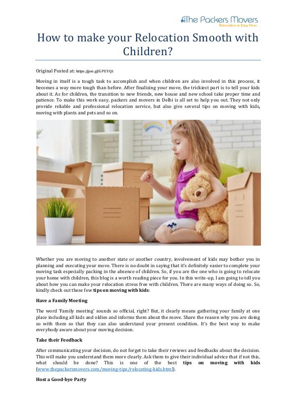 My first Magazine How to make your Relocation Smooth with Children