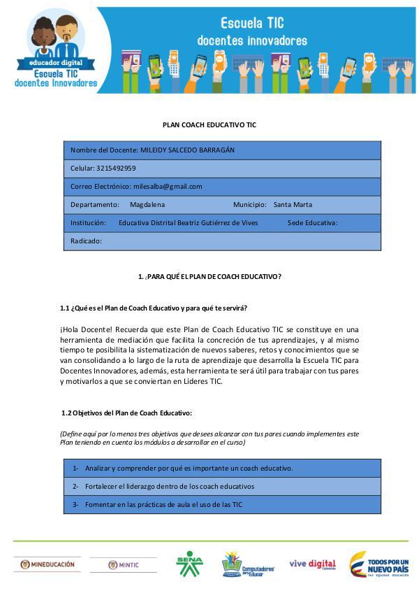 Revista Pedagógica Mile Digital plan coaching  mile