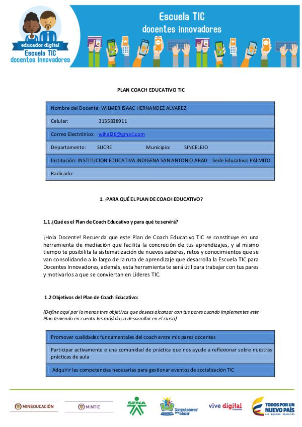 MI PLAN COACH EDUCATIVO TIC Plan_Coach_Educativo_TIC - Wilmer Hernandez