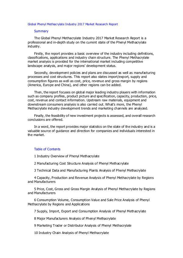 Global Phenyl Methacrylate Industry 2017 Market Re