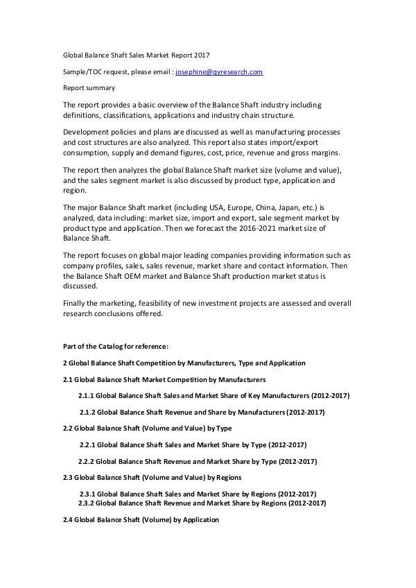 Global Magnetic Linear Encoder Industry 2017 Market Research Report Global Balance Shaft Sales Market Report 2017