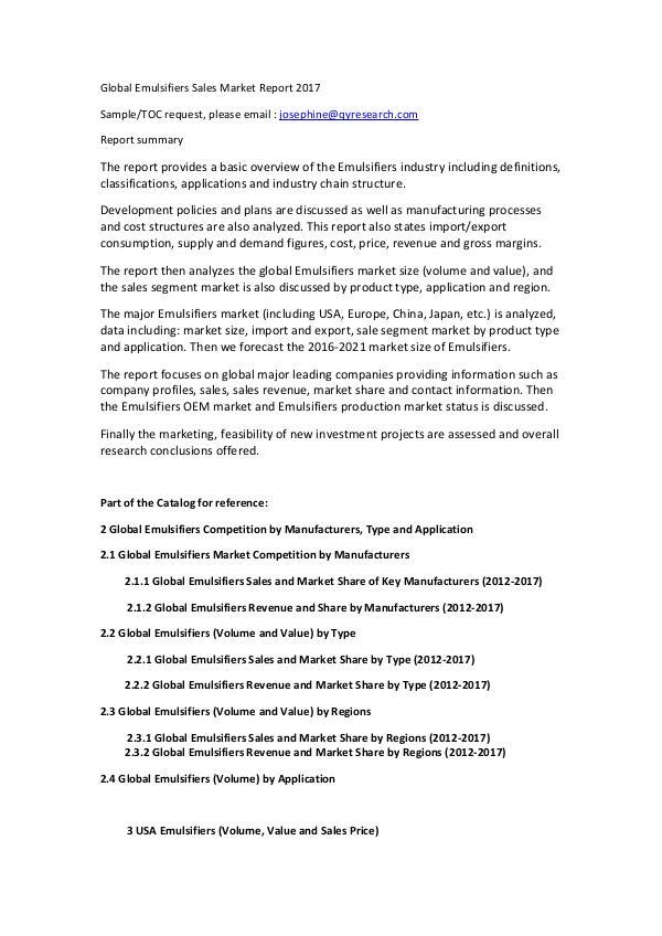 Global Emulsifiers Sales Market Report 2017