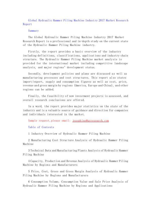 Global Hydraulic Hammer Piling Machine Industry 20