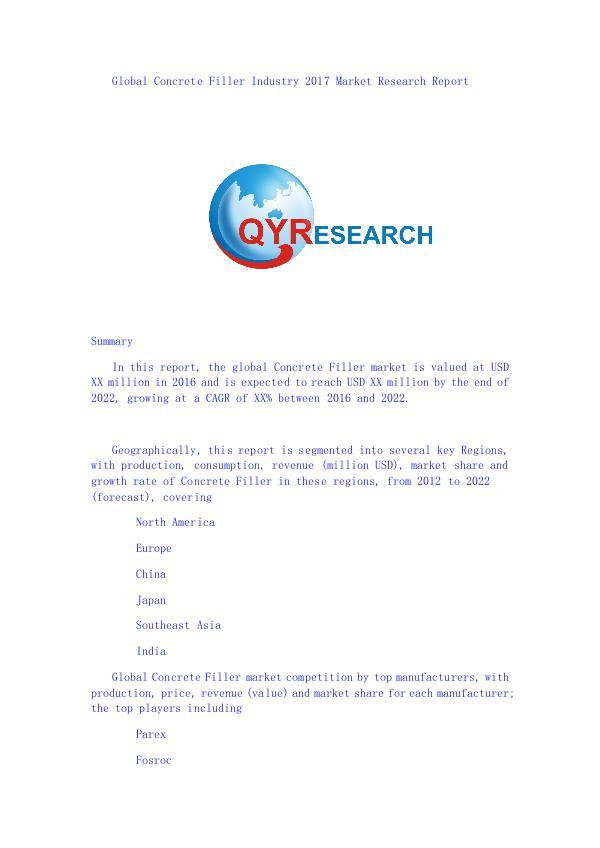 Global Concrete Filler Industry 2017 Market Resear