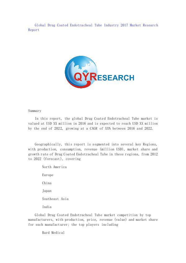 Global Drug Coated Endotracheal Tube Industry 2017