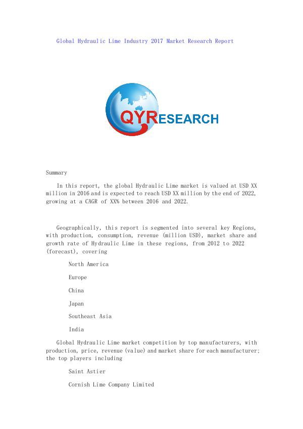 Global Hydraulic Lime Industry 2017 Market Researc
