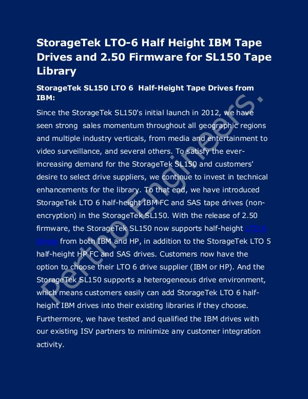 StorageTek LTO-6 Half Height IBM Tape Drives and tape library StorageTek LTO-6 Half Height IBM Tape Drive servic