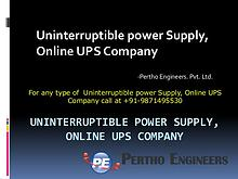 Uninterruptible power Supply, Online UPS Company – Pertho Engineers