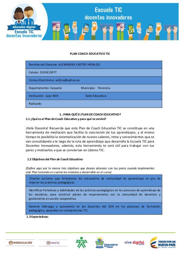 EL COACH EDUCATIVO Y LAS TIC Plantilla Plan Coach_Alexandra_Castro_Hidalgo