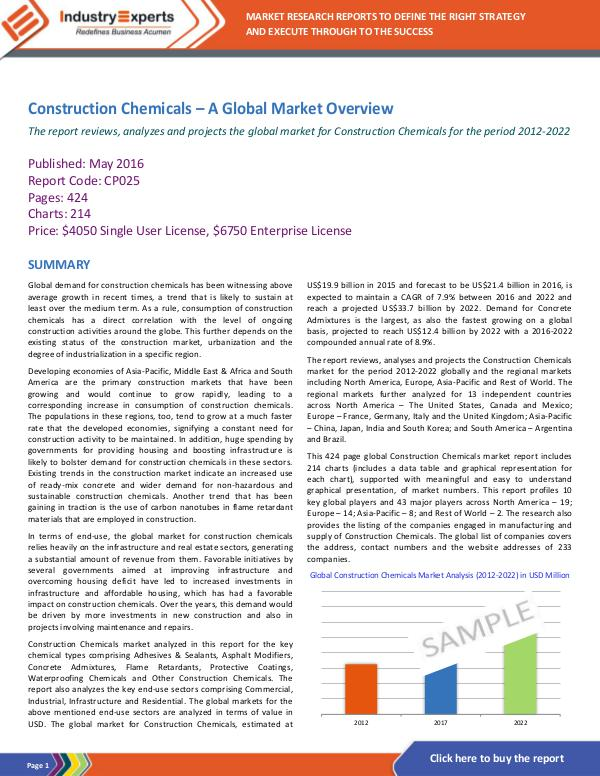 Chemicals and Materials Construction Chemicals – A Global Market Overview