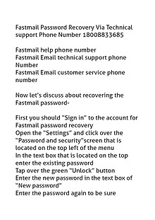 Fastmail Password Recovery 18002520044 Technical support Phone Number